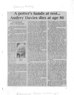 A potter's hands at rest...Audrey Davies dies at age 86