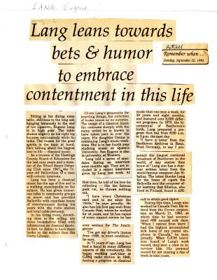 Remember when: Lang leans towards bets & humor to embrace contentment in this life