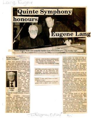 Quinte Symphony honours Eugene Lang