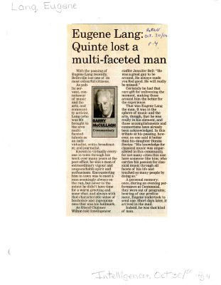 Eugene Lang: Quinte lost a multi-faceted man
