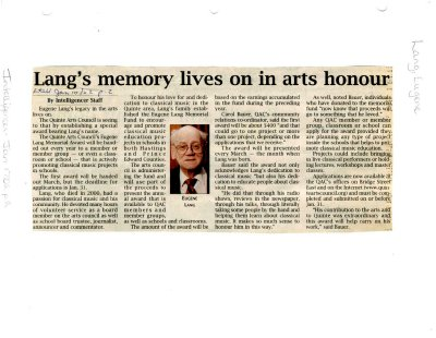 Lang's memory lives on in arts honour