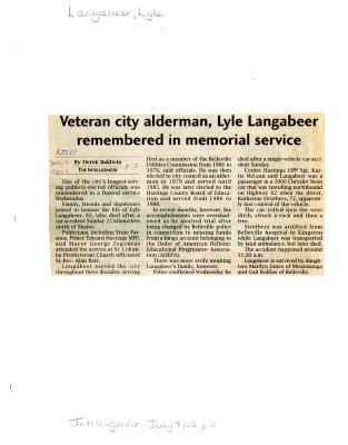 Veteran city alderman, Lyle Langabeer remembered in memorial service