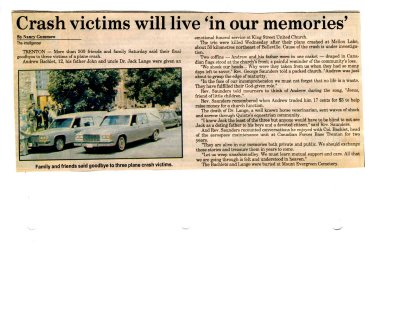 """Crash victims will live """"in our memories"""""""