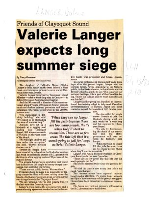 Valerie Langer expects long summer siege