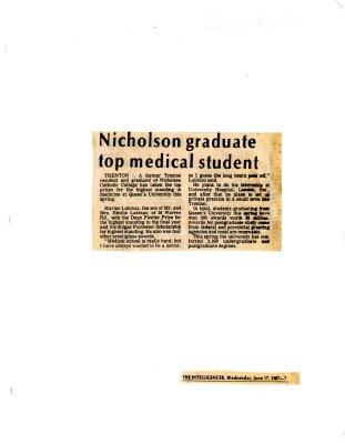Nicholson graduate top medical student