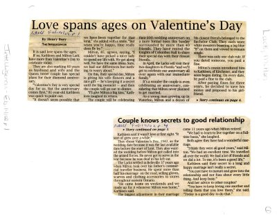 Love spans ages on Valentine's Day
