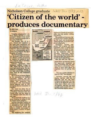 "Nicholson College graduate ""Citizen of the world"" - produces documentary"