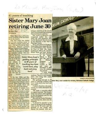 41 years of teaching: Sister Mary Joan retiring June 30