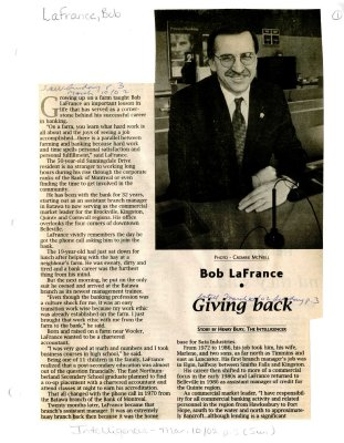 Bob LaFrance: Giving back
