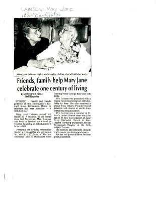 Friends, family help Mary Jane celebrate one century of living