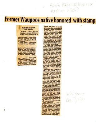 Former Waupoos native honored with stamp