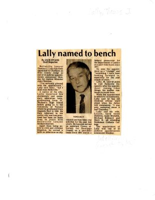 Lally named to bench