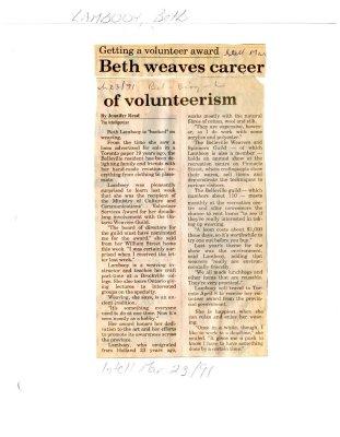 Getting a volunteer award: Beth weaves career of volunteerism