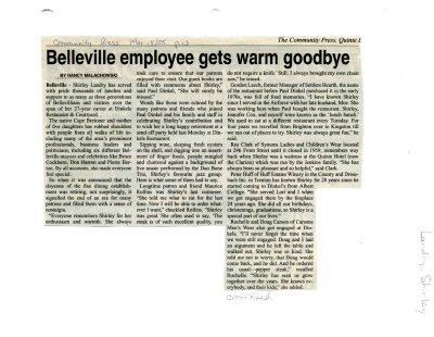 Belleville employee gets warm goodbye