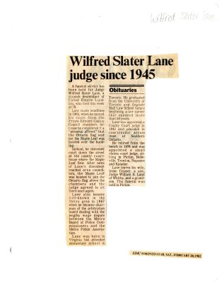 Wilfred Slater Lane judge since 1945