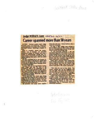 Judge Wilfrid S. Lane: Career spanned more than 50 years
