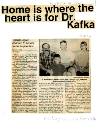 Home is where the heart is for Dr. Kafka