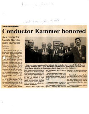 Conductor Kammer honored : new conductor Gerald Murphy takes over reins