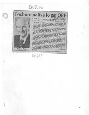 Foxoboro native to get OBE