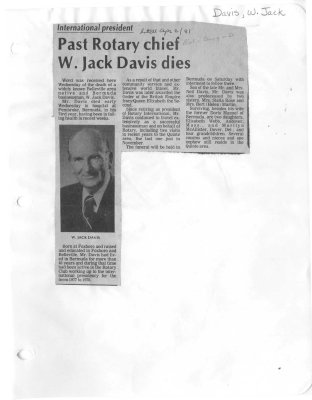 Past Rotary chief W. Jack Davis dies