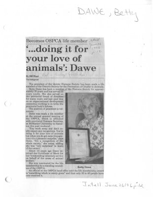 '...doing it for your love of animals': Dawe