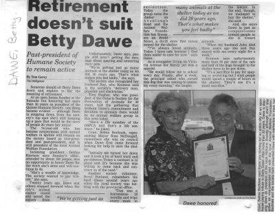 Retirement doesn't suit Betty Dawe