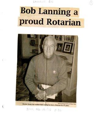 Bob Lanning a proud Rotarian
