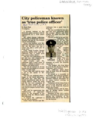 "City policeman known as ""true police officer"""