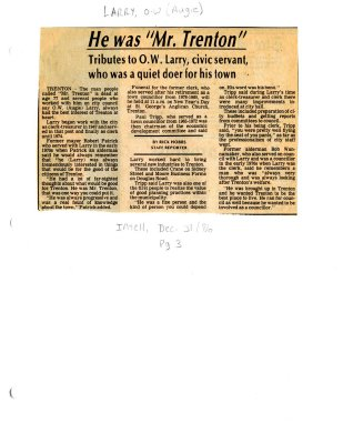 """He was """"Mr Trenton"""": Tributes to O.W. Larry, civic servant, who was a quiet doer for his town"""