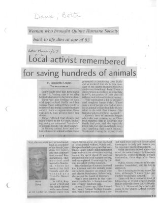 Local activist remembered for saving hundreds of animals