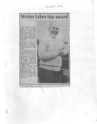 Writer takes top award