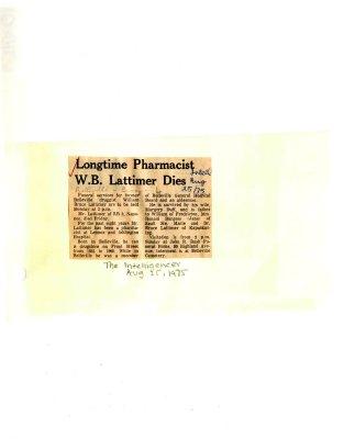 Longtime Pharmacist W.B. Lattimer dies