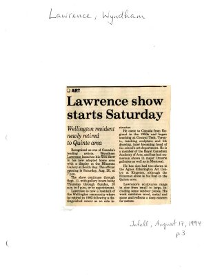 Lawrence show starts Saturday