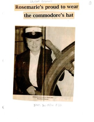 Rosemarie's proud to wear the commodore's hat