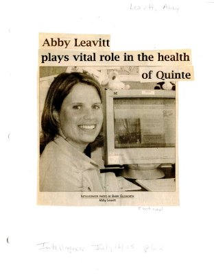 Abby Leavitt plays vital role in the health of Quinte