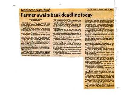Farmer awaits bank deadline today