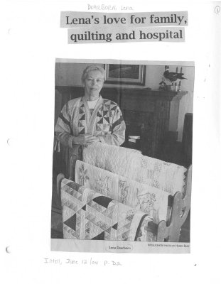 Lena's love for family, quilting and hospital