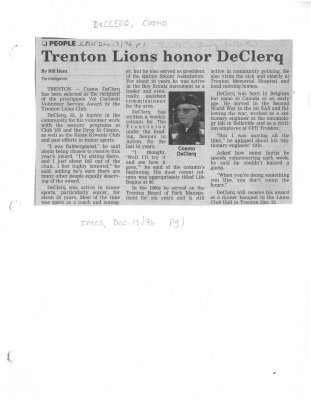 Trenton Lions honor DeClerq