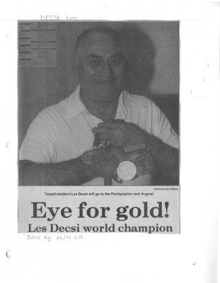 Eye for gold!: Les Decsi world champion