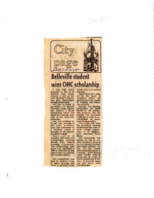 Belleville student wins OHC scholarship