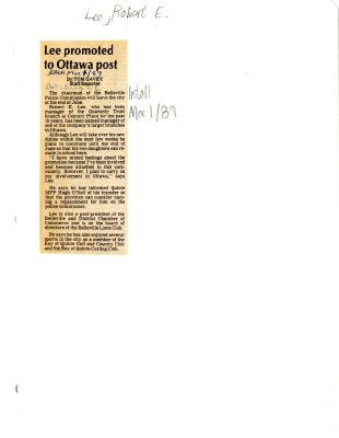 Lee promoted to Ottawa post