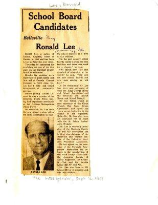 School Board Candidates: Belleville - Ronald Lee