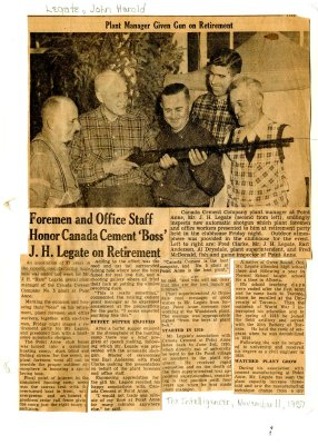 """Foremen and Office staff honor Canada Cement """"boss"""" J.H. Legate on retirement"""