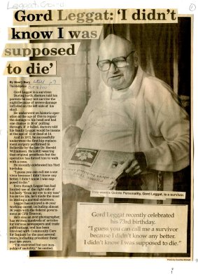 """Gord Leggat: """"I didn't know I was supposed to die"""""""