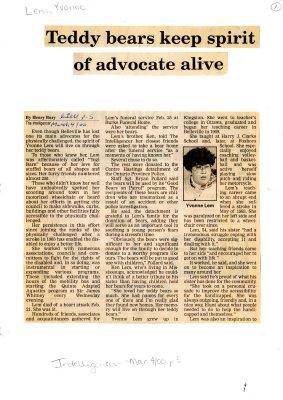 Teddy bears keep spirit of advocate alive