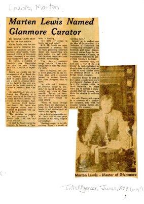 Marten Lewis named Glanmore curator