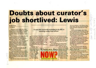 Doubt about curator's job shortlived: Lewis