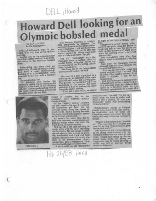 Howard Dell looking for an Olympic bobsled medal