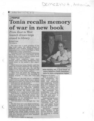 Tonia recalls memory of war in new book