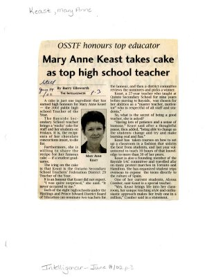 Mary Anne Keast takes cake as top high school teacher